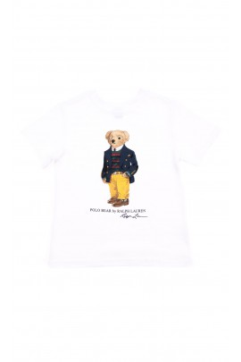 White t-shirt with the iconic Polo Bear for boys, Polo Ralph Lauren