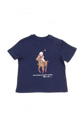 Navy blue t-shirt with printed teddy bear, Polo Ralph Lauren