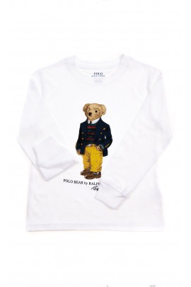 White longsleeve with teddy bear for boys, Polo Ralph Lauren