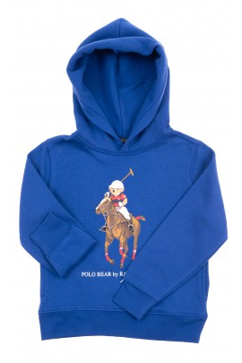 Blue hoodie with iconic teddy bear, Polo Ralph Lauren
