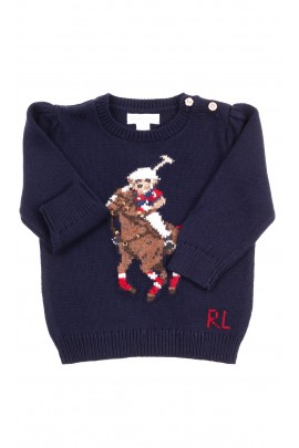 Navy blue sweater with teddy bear for girls, Ralph Lauren