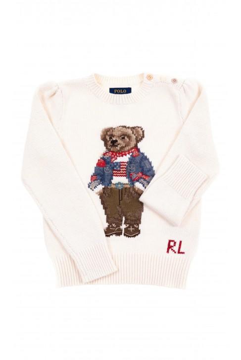 Ecru sweater with teddy bear for kids, Polo Ralph Lauren