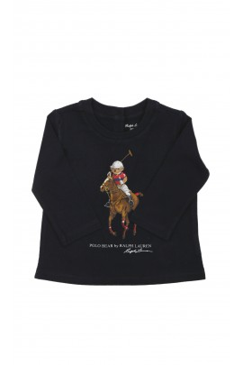 Navy blue baby T-shirt with teddy bear as a polo player, Ralph Lauren