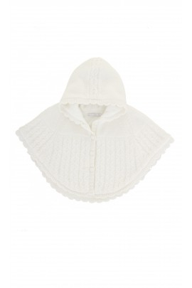 Ecru poncho with hood, Absorba