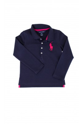 Navy blue polo shirt with large pink horse, Polo Ralph Lauren