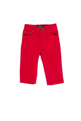 Red corduroy trousers with a leather badge, Polo Ralph Lauren