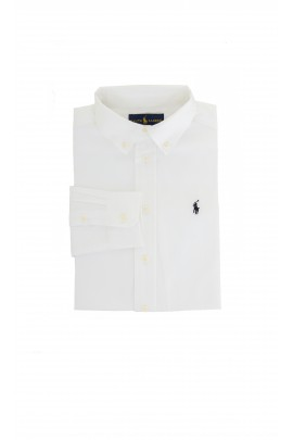 Elegant white shirt with navy blue pony, Ralph Lauren
