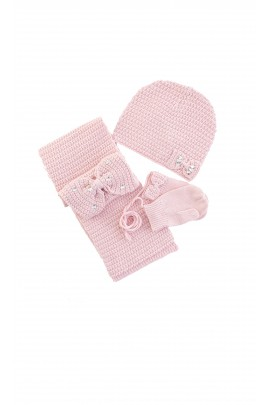 Girls set, Tartine et Chocolat, scarf, cap, gloves, powder pink
