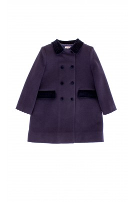 Navy blue, fleece insulated coat, Ferrari Mariella