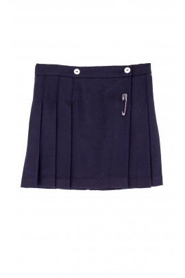 Pleated, navy blue skirt with cuff pleat, Mariella Ferrari