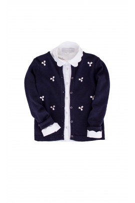 Navy blue sweater, Tartine et Chocolat, fastened, decorated with stones
