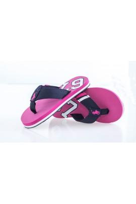Pink flip-flops in navy blue stripes, Polo Ralph Lauren